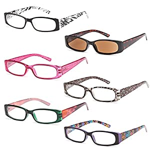 GAMMA RAY READERS 5 Pairs Ladies' Readers includes Sunglass Reader Quality Spring Hinge Reading Glasses for Women +2.00