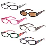 GAMMA RAY READERS 5 Pairs Ladies' Readers includes Sunglass Reader Quality Spring Hinge Reading Glasses for Women +1.50