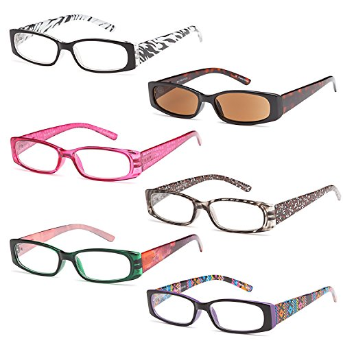 GAMMA RAY READERS 5 Pairs Ladies' Readers includes Sunglass Reader Quality Spring Hinge Reading Glasses for Women +1.25