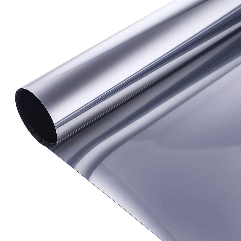 "Coavas Solar Film One Way Mirror Window Film Non Adhesive Static Cling Heat Control Anti UV Window Tint Home Office, 17.7"" x 78.7"", Silver"