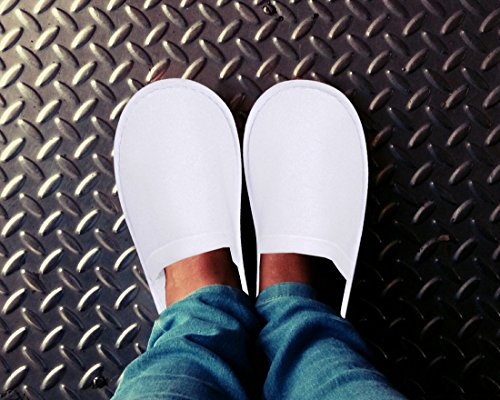 Juvale 24 Pairs Disposable Slippers - Great for Hotel, Spa, Guest, Nail Salon Use - Non-Slip - Made From Fleece, White - fits up to US Men's Size 10 and US Women's Size 11 by Juvale (Image #2)