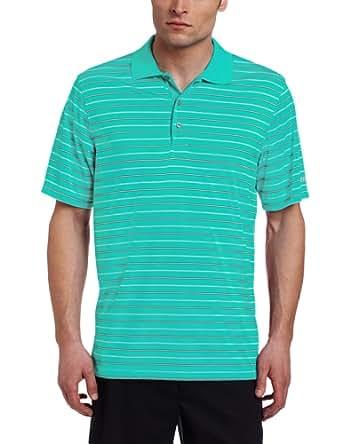 IZOD Men's Short Sleeve Jersey Stripe Golf Polo, Deep Green, Small