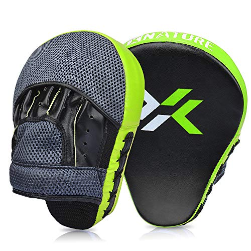 Xnature Essential Curved Boxing MMA Punching Mitts Boxing Pads w/Gift Box Hook & Jab Pads MMA Target Focus Punching Mitts Thai Strike Kick Shield for X
