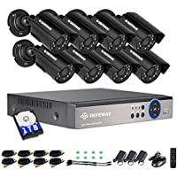 DEFEWAY 8 Channel Video Security System,8 Waterproof Outdoor Surveillance Cameras,8ch 1080N Audio DVR with 1TB Hard Drive