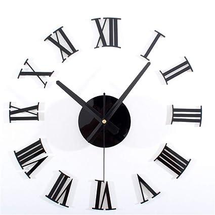 Reloj de pared sin marco con números Romano Reloj digital Moderno Salón creativo Mute Diy Reloj
