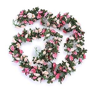 U-smile Rose Flower Vine Artificial Flower Rattan Vine Green Leaf Garland Hanging Wedding Festival Home Garden Decoration,red Champagne 85