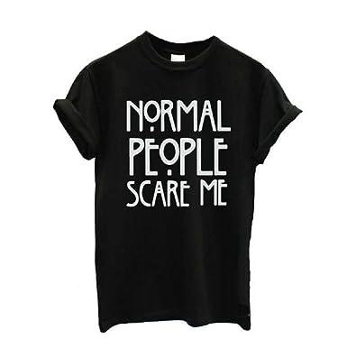ae812162 Singleluci Women normal people scare me Printed Summer T shirt Tops (S,  Black)