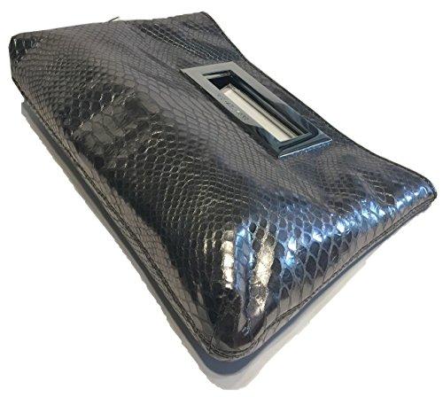 Michael Kors Berkley Python Embossed Nickel Leather Clutch
