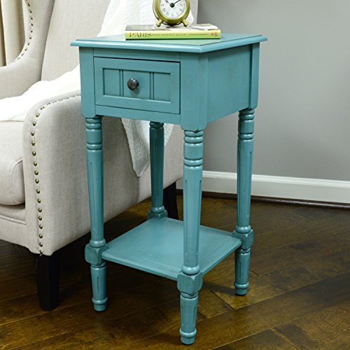 Décor Therapy FR1549 Simplify One Drawer Square Accent Table, Blue -
