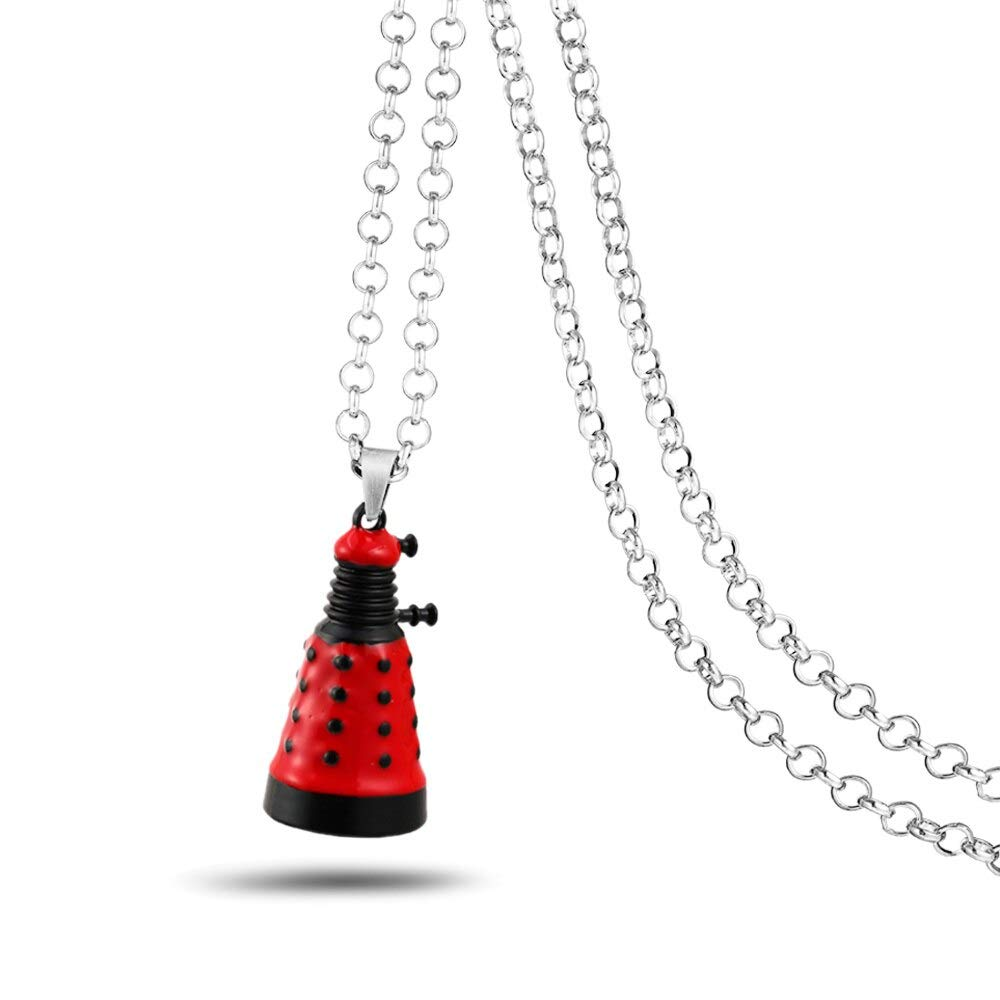 Doctor Who Necklace 3 Robot Dalek Pendant 60cm Chain Men Necklaces Charm Gifts Game Hong