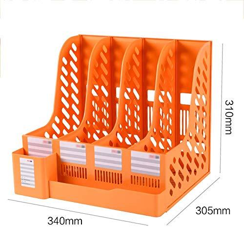 Folder Storage Box PP Material Three Floors Desktop File Holder Data Frame Office Supplies Archive Rack (3 Colors) Desktop Bookshelf (Color : Orange)