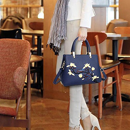 Color Shoulder Women's Bag Shoulder Messenger Darkblue Women's Bag Korean Handbag Style Bag Fashion Matching Bag qZqrnx7w8