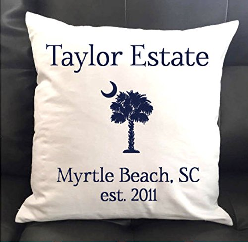 Personalized South Carolina Palmetto Tree and Moon Throw Pillow 16x16