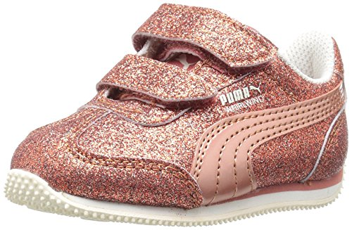 PUMA Girls' Whirlwind Glitz Velcro Kids Sneaker, Rose Gold-Rose Gold, 10 M US Toddler