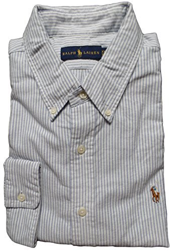 Multi Striped Polo Shirt - Polo Ralph Lauren Men's Striped Long Sleeve Oxford Shirt L Blue / White