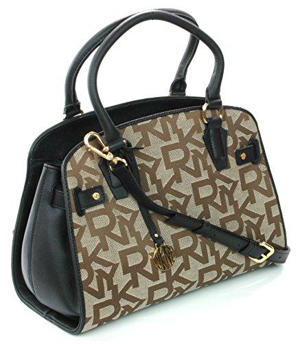 Donna Embossed Karan Brown Bag DKNY Logo Shoulder Canvas Hand RRP 260 Black daqX6qw