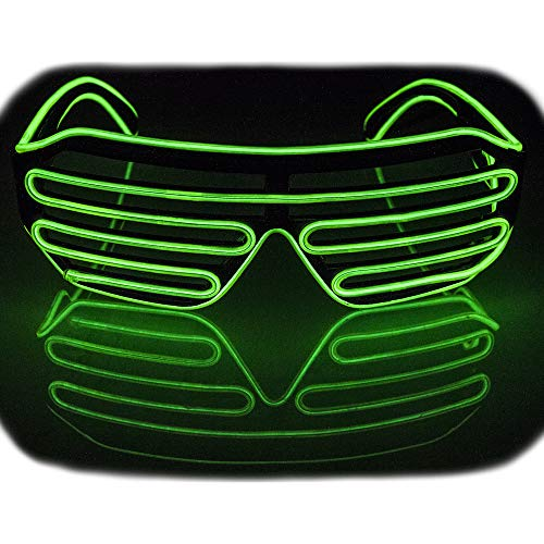 Fadory Led Light Up Party Glowing Glasses for Halloween Costume Parties Decorations (Green) -