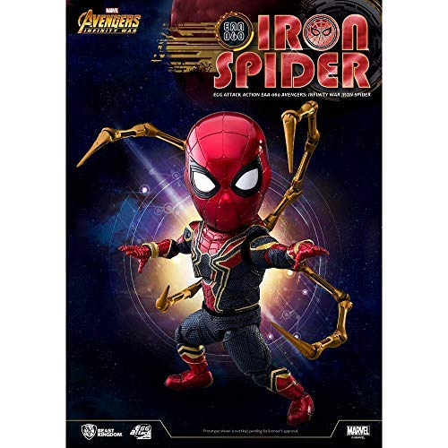 Beast Kingdom Iron Spider Man Peter Parker Egg Attack Action EAA-060 Avengers Infinity 3 WAR Marvel Comic Miniature Action Figures Bobble Head Collectible Toys Model