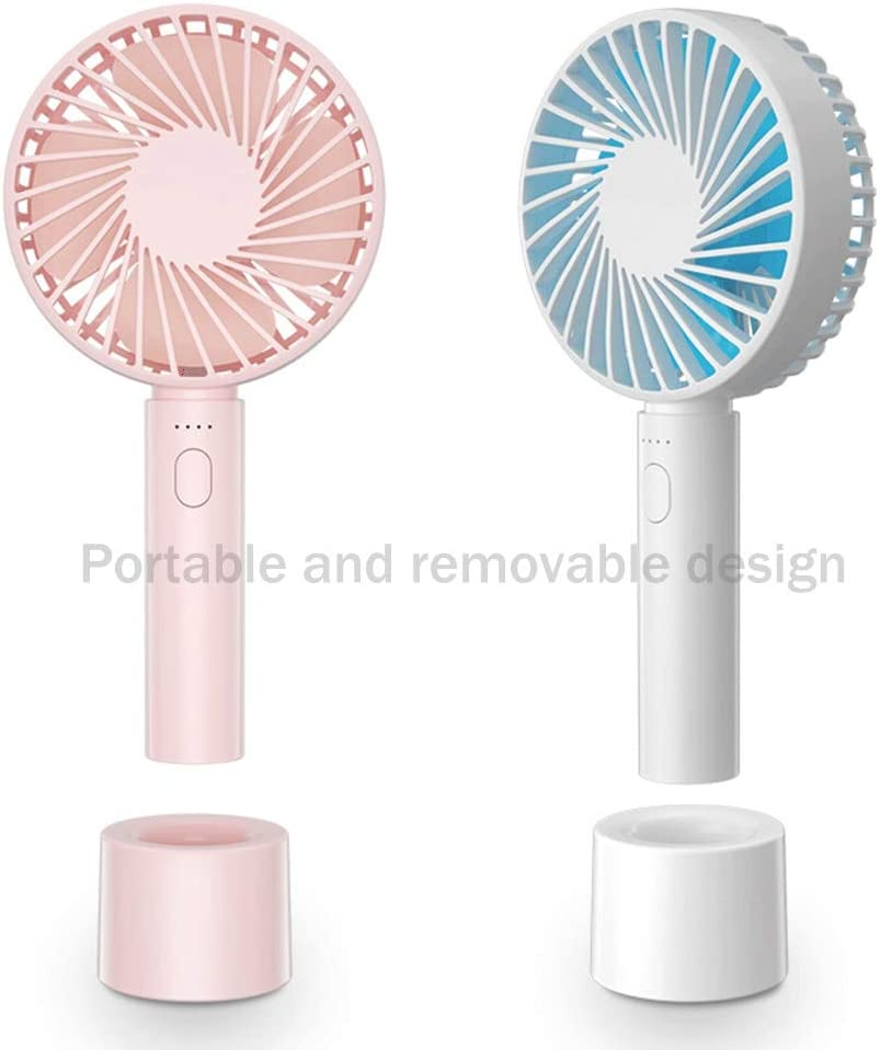 White//Pink Color : White Memory USB Rechargeable Handheld Fan Upgrade Low Noise High Wind Office Home Desktop Fan Portable Long Life