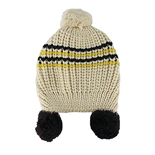 Baby Girls Boys Cute Warm Two Balls Wool Knitted Caps Toddlers Children Hat  Beige