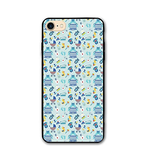 Haixia iPhone 7/8 Cover Case 4.7 inch Baby Newborn Sleep Crescent Moon Pacifier Nursery Star Polka Dots Image Decorative Pale Violet Blue Yellow