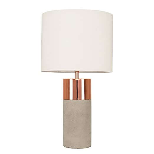Modern cementstone copper effect cylinder table lamp with a cream modern cementstone copper effect cylinder table lamp with a cream cylinder light shade aloadofball Image collections