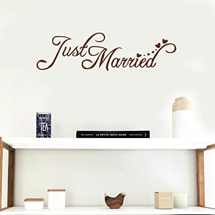 Amazon Just Married Quotes Wedding Wall Stickers Art Mural Simple Just Married Quotes