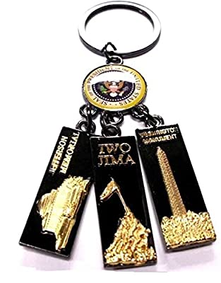 Great Seal of United States, Washington Monument, IWO Jima Memorial & Jefferson Memorial Charm Key Chain- Washington DC Souvenir