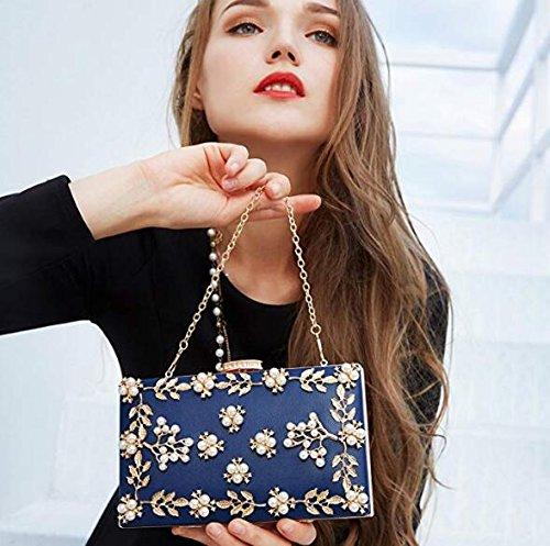 Bag Blue Clutches NBWE Bags Pearls Women Clutch Purse Evening x7nIAUwPq