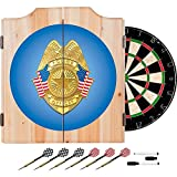Officially Licensed Police Badge Design Deluxe Wood Cabinet Complete Dart Set