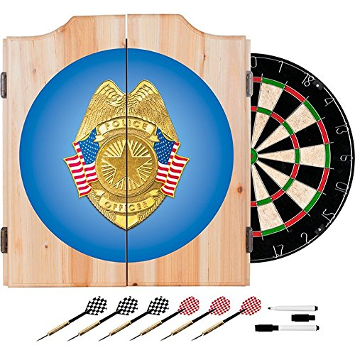 Officially Licensed Police Badge Design Deluxe Wood Cabinet Complete Dart Set by TMG