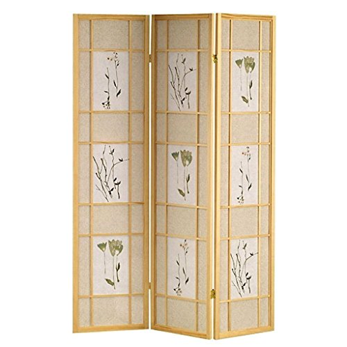 Legacy Decor 3 Panel Floral Accented Screen Room Divider, Natural Wood Frame, Printed Shoji -
