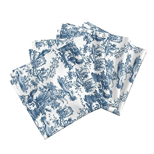 Roostery Chinoiserie Toile Linen Cotton Dinner Napkins Antique Bird Floral Antique Toile Lonely Angel Chinese Floral Home Decor by Peacoquettedesigns Set of 4 Dinner Napkins