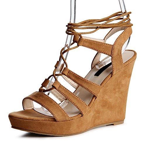 topschuhe24 - Zapatos de vestir de tela para mujer Marrón - beige camel