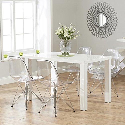 Conjunto de 2 sillas de comedor con asiento transparente y patas en acero. Opción de 4 sillas.