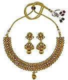 Matra Ethnic Indian Traditional Goldtone Choker Necklace Earring Set Wedding Jewelry