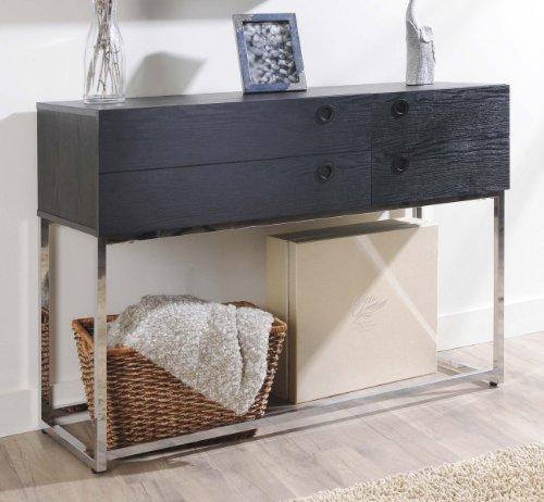 ioHOMES Mia 4-Drawer Modern Console/Sofa Table, Black