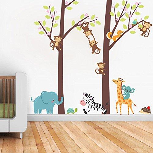 (Clothful  Jungle Animal Tree Kids Baby Nursery Wall Sticker Mural Decor Decal Removable)