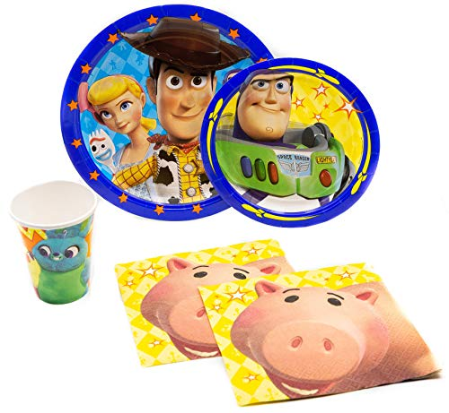 Toy Story Pack! Disposable Paper Plates, Napkins and Cups Set for 15 (With free extras) - Includes dessert plates, dinner plates, napkins and cups