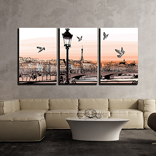 """wall26 - 3 Piece Canvas Wall Art - Vector - Sunset on Seine River from Pont Des Arts in Paris - Vector Illustration - Modern Home Decor Stretched and Framed Ready to Hang - 24""""x36""""x3 Panels"""