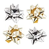 JAM PAPER Gift Bows - Super Tiny - 1 Inch Diameter - Gold & Silver - 9/pack