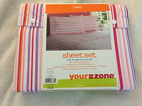 (Your Zone Twin Sheet Set Pink and Purple Multi Stripes)