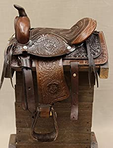 "10"" Pony Horse Saddle Kids Cowboy Cowgirl Pleasure Leather Brown Western Saddle"