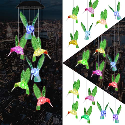 eQFeast Solar Hummingbird Wind Chimes, Color-Changing LED Solar Mobile Wind Chime, Waterproof Six Hummingbird Wind Chimes For Home Party Night Garden Decoration