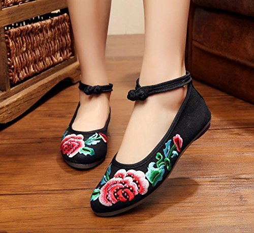 37 Cómodo Zapatos Gamuza Mujeres Moda Suela Zapatos Negro Tendón De Estilo Étnico Casual Mn Bordado YfAUPcSx6