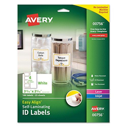 Avery 00756 Easy Align Self-Laminating ID Labels Inkjet/Laser 2 15/16 x 3 5/16 White 100 (Avery Dennison White Inkjet)