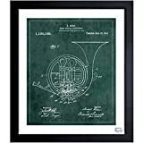 French Horn Instrument 1914 Vintage Framed Wall Art Print for Home decor & Office. The Music Wall Decor Blueprint Collection by The Oliver Gal Artist Co. Hand Framed and Ready to Hang. 26x32 inch