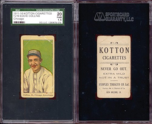 1914 Kotton T216 Regular (Baseball) Card# 19 eddie collins of the Chicago Fair Condition