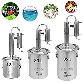 12L/20L/35L Home Moonshine Still Distiller Stainless Steel Cooler Ethanol Water Essential Oil Boiler Spirits Alcohol Wiskey Thumper Keg Brewing Kit Wine Making Fermenter Tank