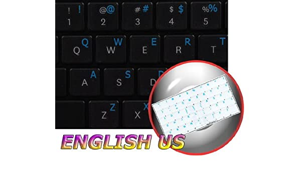 14X14 English US Keyboard Labels ON Transparent Background with Blue Lettering